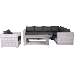 Garden Impressions Tennessee loungeset 4-delig - licht grijs-zwart