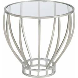 Silver - Bijzettafel - rond - glazen blad - zilverkleurig - metalen frame