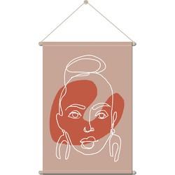 Textielposter Vrouw Portret Line Art - 90 x 120 cm