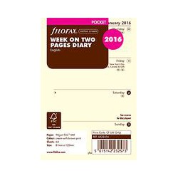 Filofax Week On 2 Pages 2016 Diary Inserts, Pocket, Cream