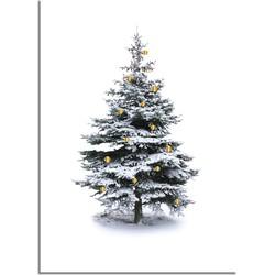 Kerstposter Kerstboom Goudfolie kerstballen  - A3 + Fotolijst zwart
