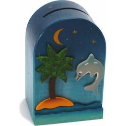 Spaarpot 3D Dolfijn Hout  - Weizenkorn