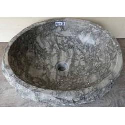 Teak & Living Waskom stone 30-35 cm Grijs geaderd