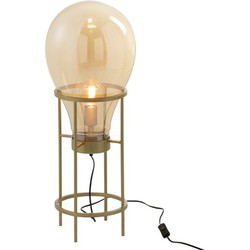 Balloon – Tafellamp – glazen luchtballon – metalen staander – goudkleurig
