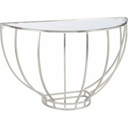 Silver - Sidetable - halfrond - glazen blad - zilverkleurig - metalen frame