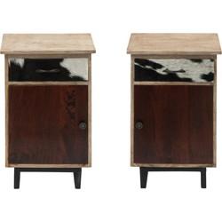 Wants&Needs Nachtkastje Cowskin set van 2 hout naturel 63 x 35 x 42