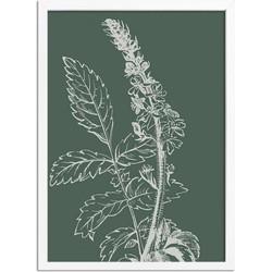 Vintage bloem blad poster Designclaud - Puur Natuur Botanical - Groen - A3 + Fotolijst wit