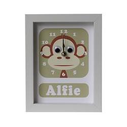 Stripey Cats Personalised Marley Monkey Framed Clock, 23 x 18cm