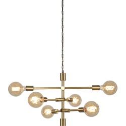 Hanglamp ijzer Nashville 6-arm, goud