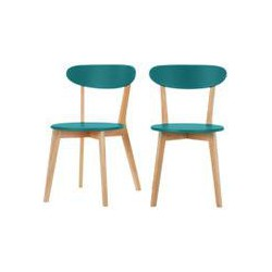 2 x Fjord Dining Chairs, Oak and Jay Blue, Blue