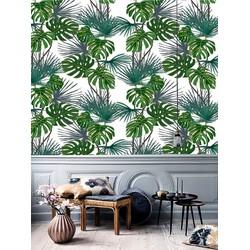 Vliesbehang Bananenblad groen wit grijs 122x275