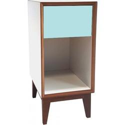 PIX nachtkastje klein met wit frame en licht turquoise voorkant