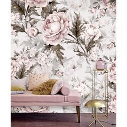 Vliesbehang bloemen pastel 250x250