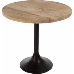 Bistro - tafel - rond - houten blad - naturel - metalen voet - zwart
