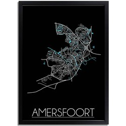 Amersfoort Plattegrond poster Zwart - A4 poster zonder fotolijst