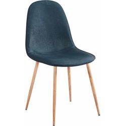 Stockholm stoel - stof donker blauw - set van 4