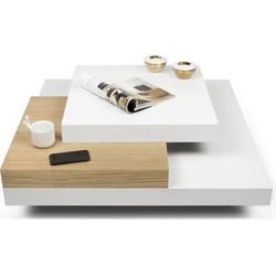 TemaHome Salontafel Slate - 90x90x30 - Mat Wit - Eiken