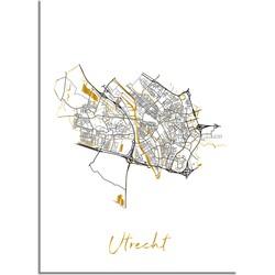 Utrecht Plattegrond Stadskaart poster met goudfolie bedrukking - A4 + Fotolijst wit