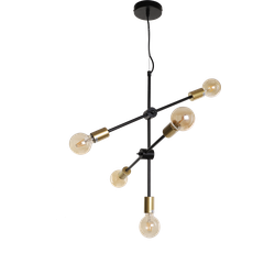 Hanglamp Helsingborg 5 lichts klein zwart + goud