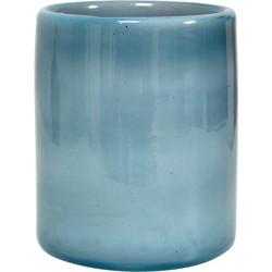 HK-living waxinelichthouder blauw wolken glas 9x9x11 cm handgeblazen