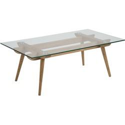 24Designs Salontafel Alvar - 110x60x40 - Glazen Tafelblad - Eikenhouten Poten