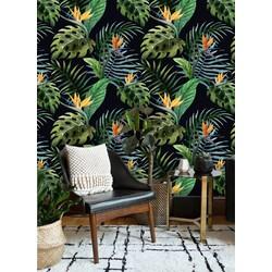 Vliesbehang Exotische planten groen zwart oranje 5  122x122 cm