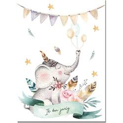 Olifant - Dieren - Kinderfeestje uitnodigingen - Feestje - Kleurrijk - Kinderkaarten - Partijtje - Partycards - 12 stuks