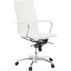 24Designs Bureaustoel Marino - Hoge Rugleuning - Kunstleer Wit