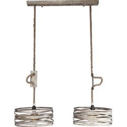 Rope - Hanglamp - 2 cilinders - verweerd zink - dia 40cm  - verstelbaar touw