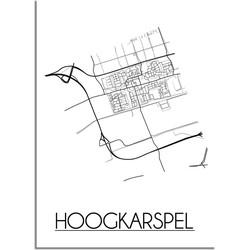 Hoogkarspel Plattegrond poster - A3 + Fotolijst zwart