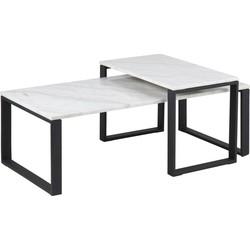 24Designs Salontafel Serenity - Tafelblad Wit Marmer - Zwart Metalen Onderstel