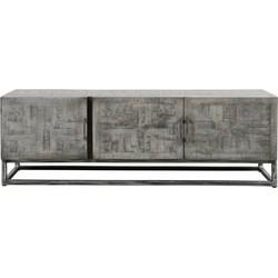 Cross massive mango - TV-meubel - grijs antiek - 3 deuren - frame geschuurd metaal