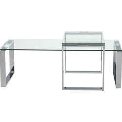 24Designs Salontafel Serenity - Tafelblad Helder Glas - Chromen Onderstel