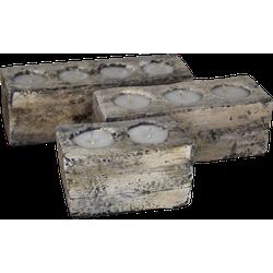 Kaars Kotak Panjang - white wash - albazia - s/3