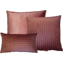 Kussenset fluweel uni Roze 60x60 cm / 50x50 cm / 30x50 cm