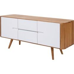 Sideboard Loca I - Wildeiche massiv - Weiß / Wildeiche - 135 cm