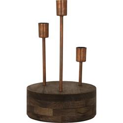 Tafellamp GILI - Hout Weather Barn + Koper - 3-lichtpunten