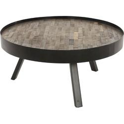 Mosaic - Salontafel - rond - dia 75cm - met rand - teakhout  - greywash