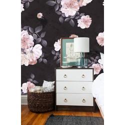 Vliesbehang XL Bloemenprint zwart 250x250 cm