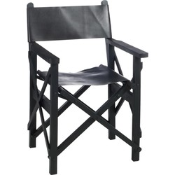Cinema - Regisseur stoel - mat zwart - leder - hout - plooibaar