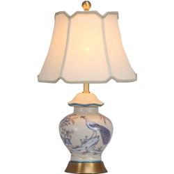 Fine Asianliving Fine Asianliving Oosterse Tafellamp Porselein Handgeschilderde Pauw