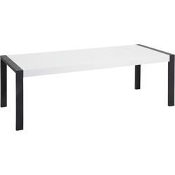 Eettafel wit 220 x 90 cm zwart onderstel ARCTIC I