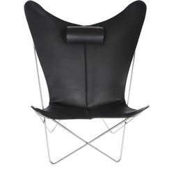 OxDenmarq Fauteuil KS Chair - RVS Onderstel - Leer - Zwart
