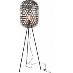 Bamboo light - Vloerlamp - cilinder - bamboe - zwart - driepikkel - metaal
