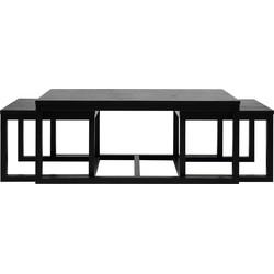 24Designs Set 3 Salontafel Valda - 120x60x50 - Zwart Essenhout