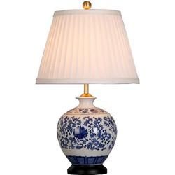 Fine Asianliving Fine Asianliving Oosterse Tafellamp Porselein Blauw Wit Pioenen