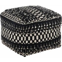 Ethnic - Poef - vierkant - zwart / wit - katoen - linnen - polyester