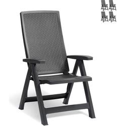 Allibert Montreal stoel - set van 4 stoelen - grafiet