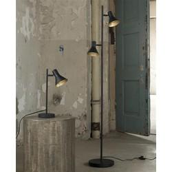 Vloerlamp 2L cup in matt black met gold inside. / Zwart