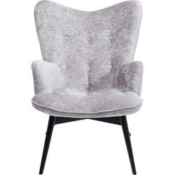 Kare Design Fauteuil Vicky Wilson - Stof Zilvergrijs - Zwarte Houten Poten